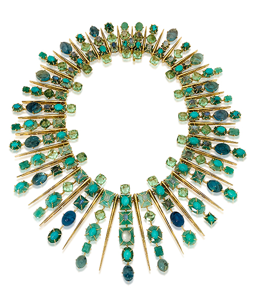 Tony Duquette Emerald Fluorite Moonstone Turquoise Necklace SOLD!