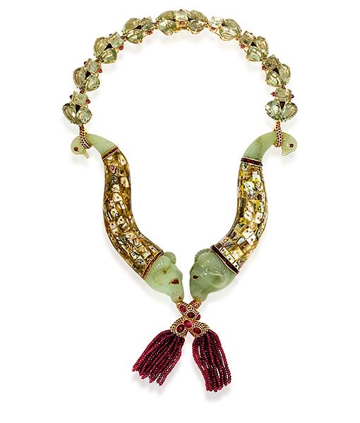 Tony Duquette Antique Indian Gunpowder Horns Necklace
