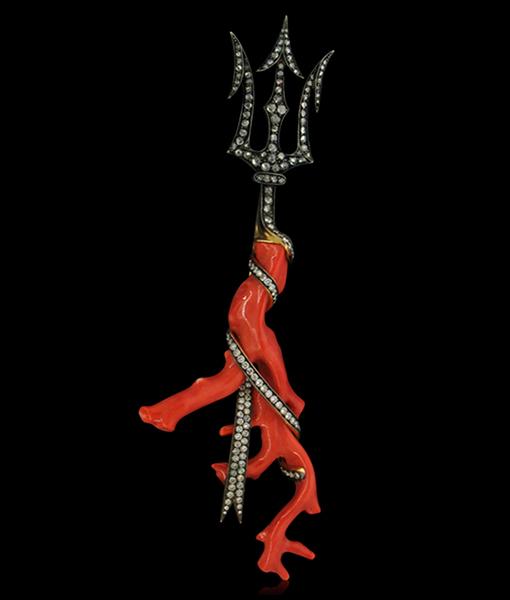 Tony Duquette Coral and Diamond Pendant & Brooch