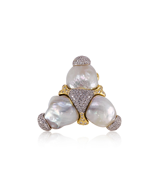 Tony Duquette Pearl Diamond Ring