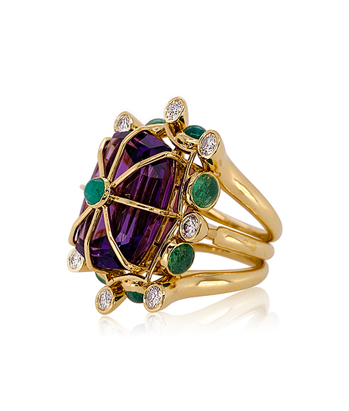 Tony Duquette Amethyst Cage Ring