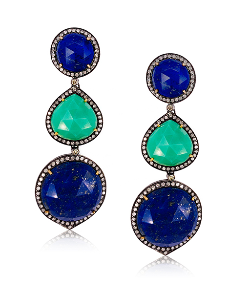 Chysoprase Lapis Diamond Earrings