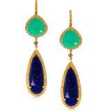 Chrysoprase Lapis and Diamond Earrings