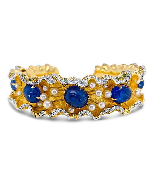Victor Velyan Blue Sapphire Ruffle Cuff