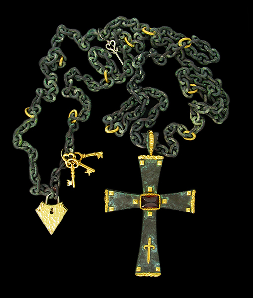Victor Velyan Spessartite Cross Pendant and Chain