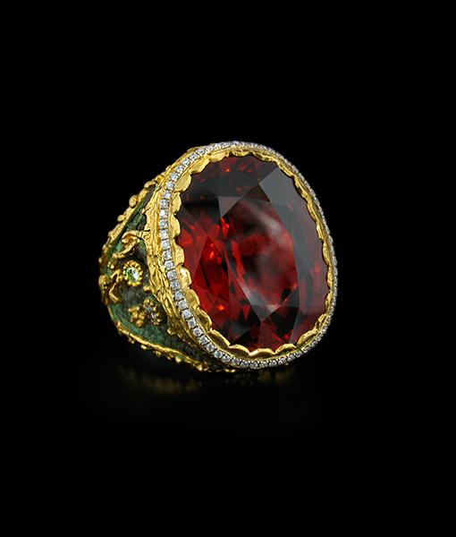 Victor Velyan Spessartite and Diamond Ring