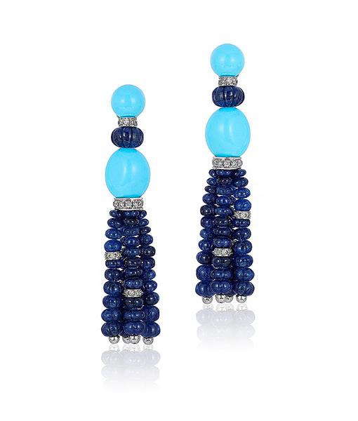 Andreoli Tassel Sapphire Earrings