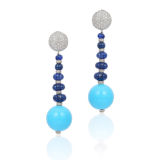 Andreoli Earrings with Carved Blue Sapphires Diamond Rondles and Large Turquoise Ball Drop