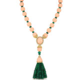Andreoli Necklace with coral and Emerald Tassels