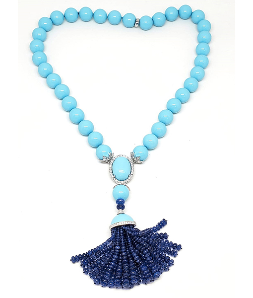Andreoli Turquoise necklace with Blue Sapphire Tassle