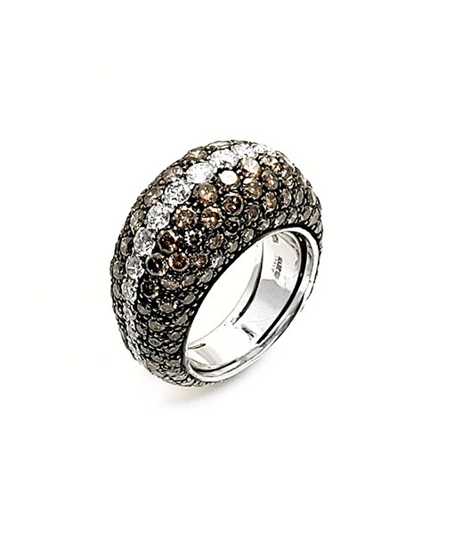Andreoli Chocolate and White Diamond Ring
