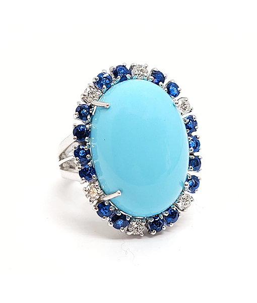 Andreoli Cabochon Turquoise Ring with Blue Sapphires and Diamonds