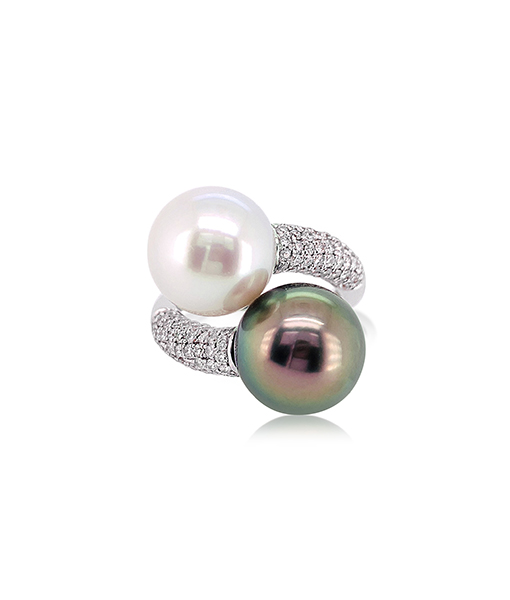 Bypass Pearl and Diamond Ring