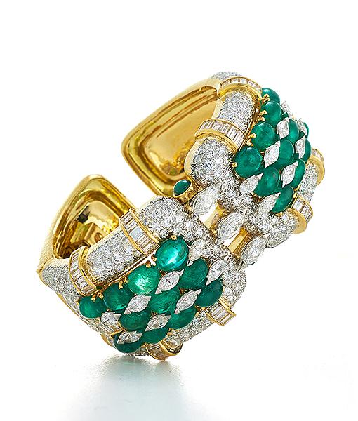 David Webb Continental Emerald and Diamond Bracelet