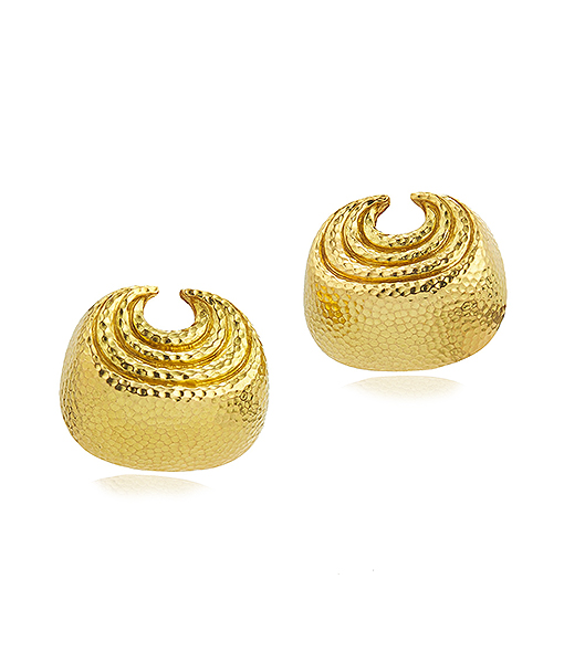 David Webb Small Concentric Crescent Earrings