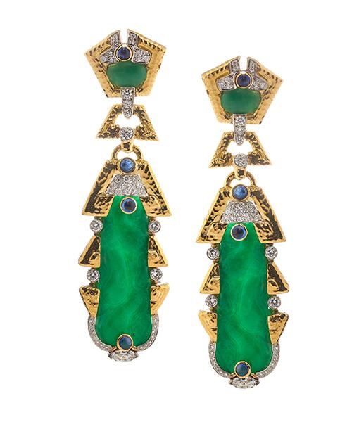 David Webb Carved Jade Sapphire and Diamond Earrings