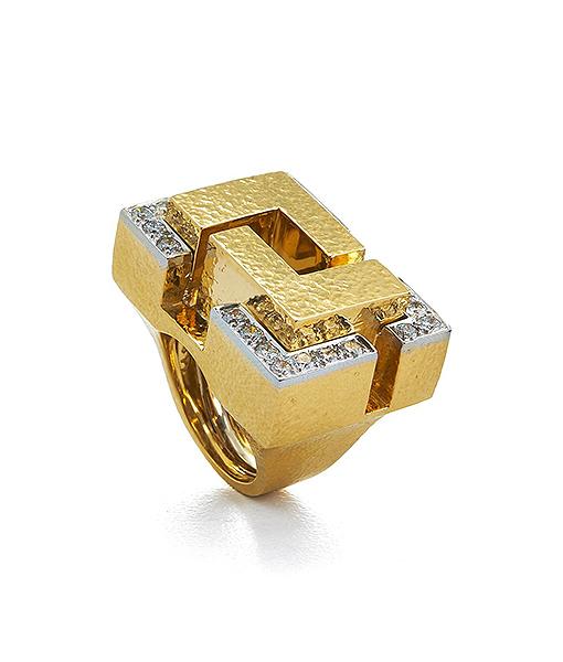 David Webb 57th Street Cubist Ring