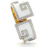 David Webb Scroll Cuff in White Enamel with Diamonds