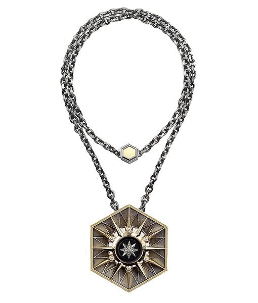 Elie Top Hexa Onyx Necklace Hexa Yellow Gold Onyx Diamonds