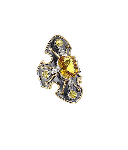 Elie Top Yellow Sapphire and Diamond Bouclier Ring
