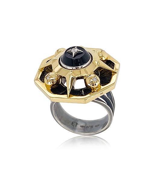 Elie Top Onyx and Diamond Ring