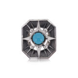 Elie Top Turquoise and Silver Rectangle Ring