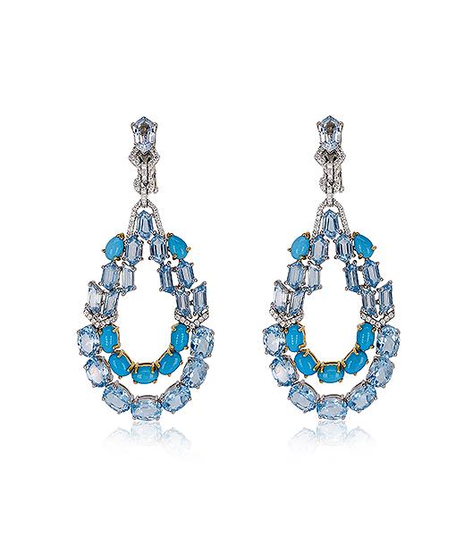 Etho Maria Turquoise Blue Topaz and Diamond Earrings