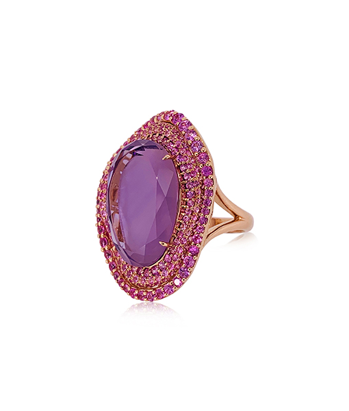 Etho Maria Pink Sapphire and Amethyst Ring