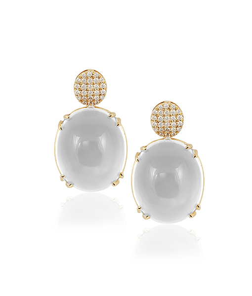 Goshwara Moon Quartz Oval Cabochon Earrings with Diamonds
