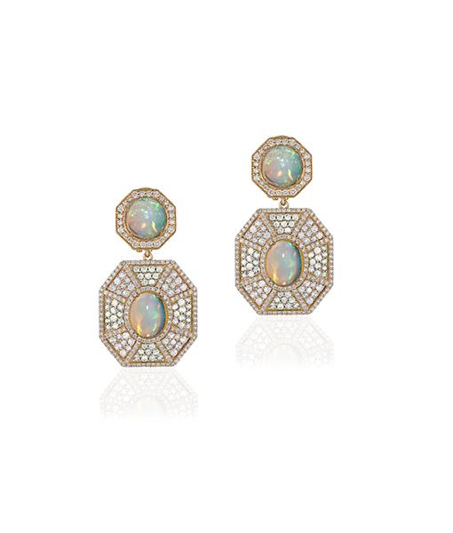Goshwara One Opal Cabochon and Diamond Earrings
