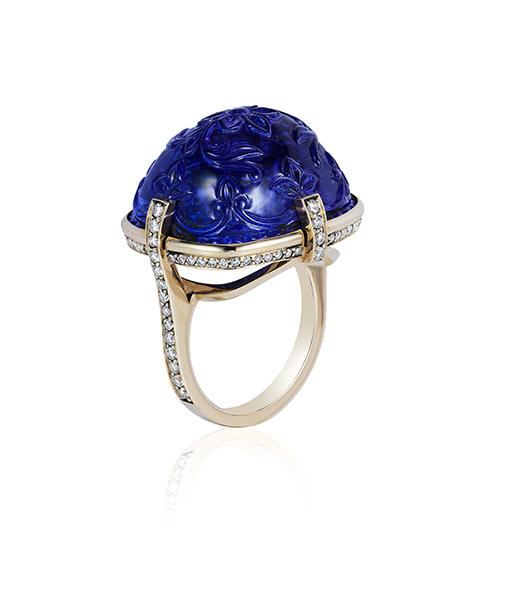 Goshwara Tanzanite Sugarloaft Carved Ring with Diamonds