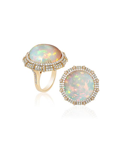 Goshwara One Round Opal and Diamond Ring