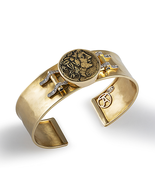 Jorge Adeler Dionysus Coin Cuff with Diamonds.