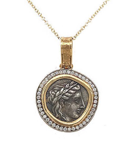 Jorge Adeler Apollo Coin and Diamond Pendant with Chain