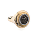 Jorge Adeler Ring Azes II Coin Ring with Diamonds
