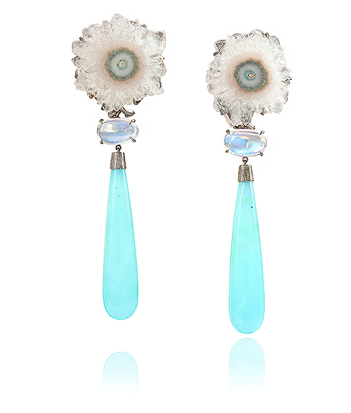 Lydia Courteille Agate Moonstone and Diamond Earrings