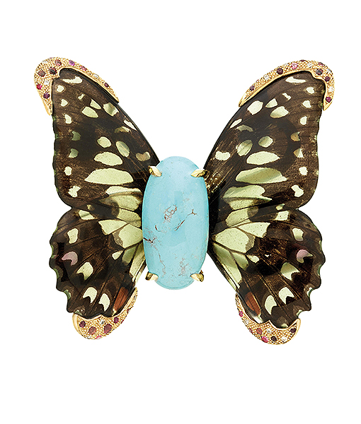 ylvie Corbelin Turquoise and Tourmaline Butterfly Brooch with Diamonds
