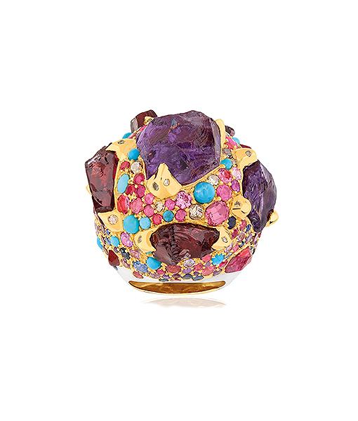 Sylvie Corbelin Purple Ramadam Multi Gems Ring