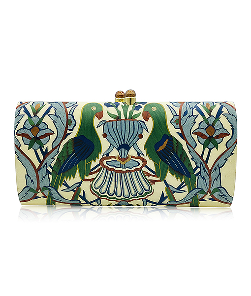 Silvia Furmanovich Marquetry Floral and Bird Wood Clutch with Light Brown Diamonds