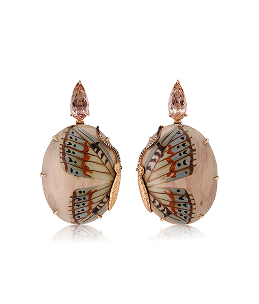 Silvia Furmanovich Blue Butterfly Marquetry on Pink Earrings with Light Brown Diamonds and Morganite