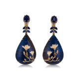 Silvia Furmanovich Marquetry Tear Drops Magnolia Earrings with Sapphire Kayanite and Diamonds