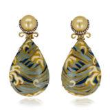 Silvia Furmanovich Obi Marquetry Wave Pearl Drop Earrings with Light Brown Diamonds South Sea Pearl
