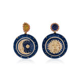 Silvia Furmanovich Sun and Moon Marquetry Earrings with Opal and Tanzanite
