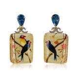 Silvia Furmanovich Marquetry Bird Earrings with Diamonds and Blue Topaz
