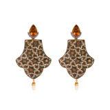 Silvia Furmanovich Handpainted Wood Earrings with Citrine and Diamonds