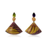 Silvia Furmanovich Marquetry Earrings with Natural Bamboo knot Diamonds and Amethyst