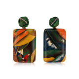 Silvia Furmanovich Marquetry Earrings with Green Bamboo knot Tsavorite and Diamonds