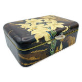 Silvia Furmanovich Marquetry White Floral Jewelry Box with Rock Crystal Clasp