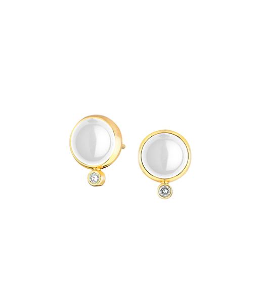Syna Moon Quartz and Diamond Earrings Stud