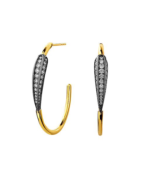 Syna Mogul Leaf Hoop Earrings with Champagne Diamonds Oxidized Silver